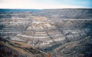 orseshoe Canyon Formation exposed in Horseshoe Canyon near Drumheller, Alberta.  Photo by Anky-man