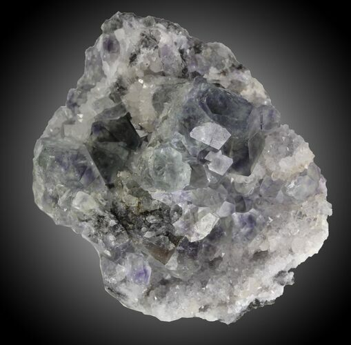 "2.6"" Fluorite and Quartz, Fujian Province, China"