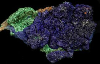 "5.5"" Striking Blue Azurite With Malachite - Oujda, Morocco For Sale, #34304"