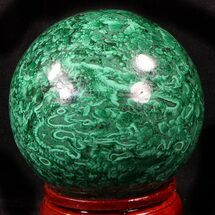 "Gorgeous 2.9"" Polished Malachite Sphere - Congo For Sale, #39401"