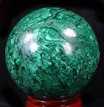 "Buy Gorgeous 3.45"" Polished Malachite Sphere - Congo - #39406"