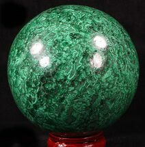 "Large 4.65"" Polished Malachite Sphere - Congo For Sale, #39410"