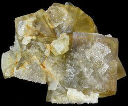 "3.9"" Quartz Encrusted Yellow Cubic Fluorite Cluster - Morocco  For Sale, #44855"