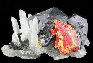 "1.7"" Realgar With Quartz & Galena - Peru For Sale, #45737"
