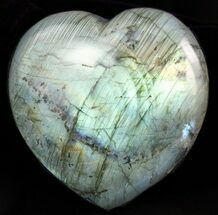 "3.6"" Flashy Polished Labradorite Heart For Sale, #47249"