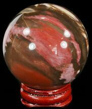 "2.2"" Colorful Petrified Wood Sphere For Sale, #49748"