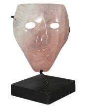 "9.1"" Polished Rose Quartz Mask On Stand - Brazil For Sale, #50705"