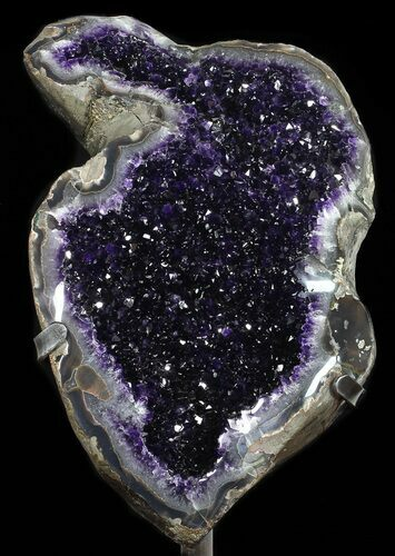 "20.4"" Amethyst Geode On Metal Stand - Extra Dark Crystals"
