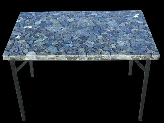 "36 x 24"" Labradorite Coffee Table With Powder Coated Base"