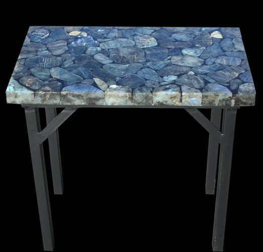 "20 x 12"" Labradorite End Table With Powder Coated Base"