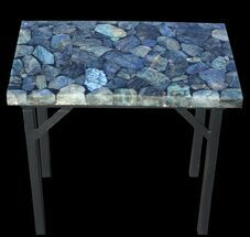 "20 x 12"" Labradorite End Table With Powder Coated Base For Sale, #52940"