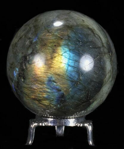 "2.6"" Flashy Labradorite Sphere - With Nickel Plated Stand"