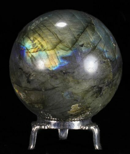 "2.5"" Flashy Labradorite Sphere - With Nickel Plated Stand"