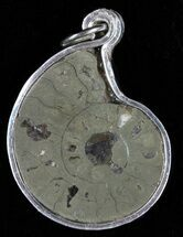 Pyrite Replaced Ammonite Fossil Pendant  For Sale, #58409