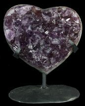 "4.4"" Amethyst Crystal Heart On Metal Stand - Uruguay For Sale, #62795"