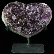 "Buy 8.6"" Amethyst Crystal Heart On Metal Stand - Uruguay - #62839"