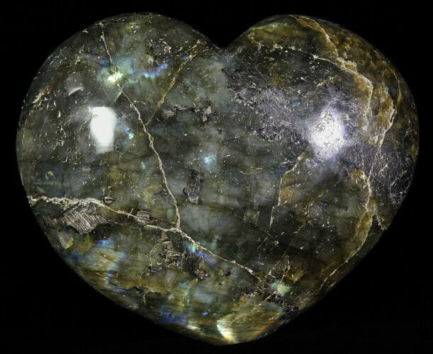 "4.1"" Flashy Polished Labradorite Heart"