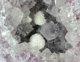 "3.2"" Okenite (Zeolite) Balls on Amethyst - India For Sale, #63128"