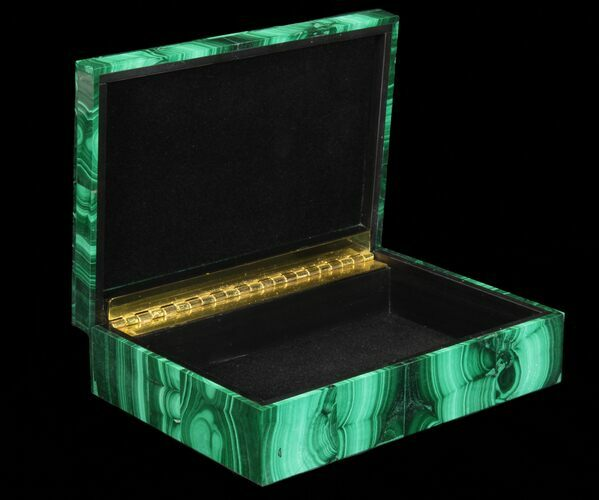 "6"" Wide Malachite Jewelry Box - Stunning"