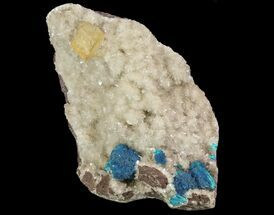 Buy Blue Cavansite Clusters on Stilbite With Calcite Cube - India - #64813