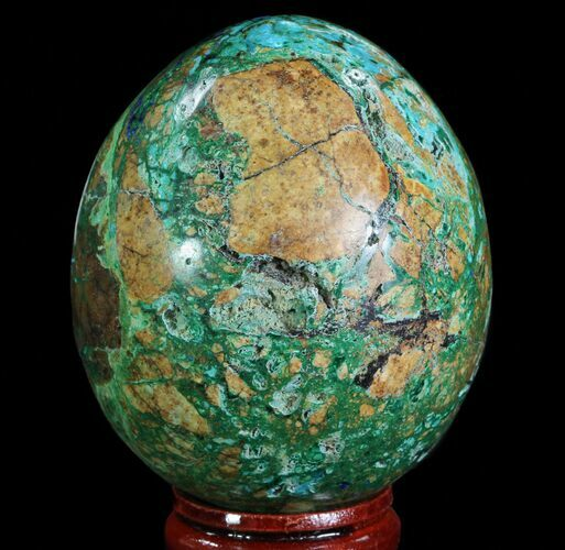 "2.35"" Polished Azurite, Chrysocolla & Malachite Egg - Peru"