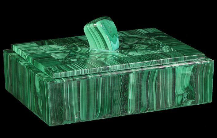 "6.8"" Wide Malachite Jewelry Box - Congo"