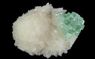 "2.7"" Green Apophyllite Flower on Peach Stilbite - India For Sale, #65735"