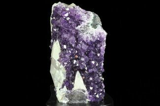 "5.1"" Amethyst Cluster with Calcite On Wood Base For Sale, #66698"