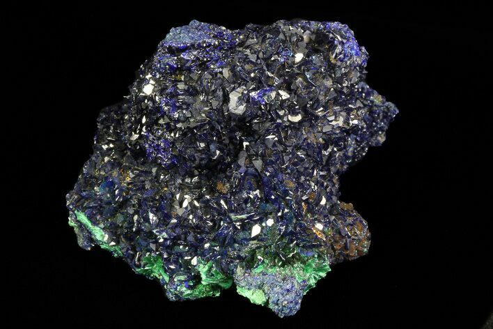 "2.1"" Sparkling Azurite Crystal Cluster with Malachite - Laos"