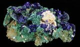 "2.3"" Sparkling Azurite Crystal Cluster with Malachite - Laos - #69714-1"