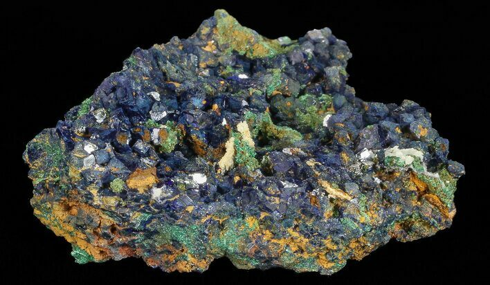 "1.9"" Sparkling Azurite Crystal Cluster with Malachite - Laos"