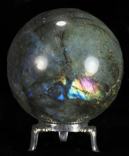 "2.75"" Flashy Labradorite Sphere - With Nickel Plated Stand"