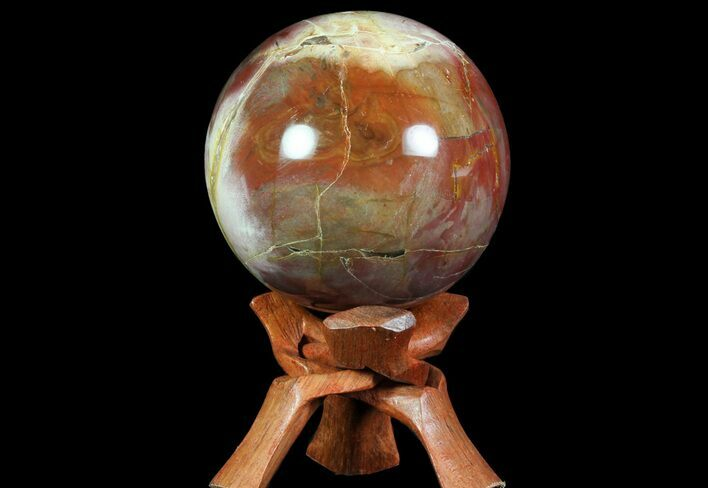 "3.8"" Colorful Petrified Wood Sphere - Madagascar"