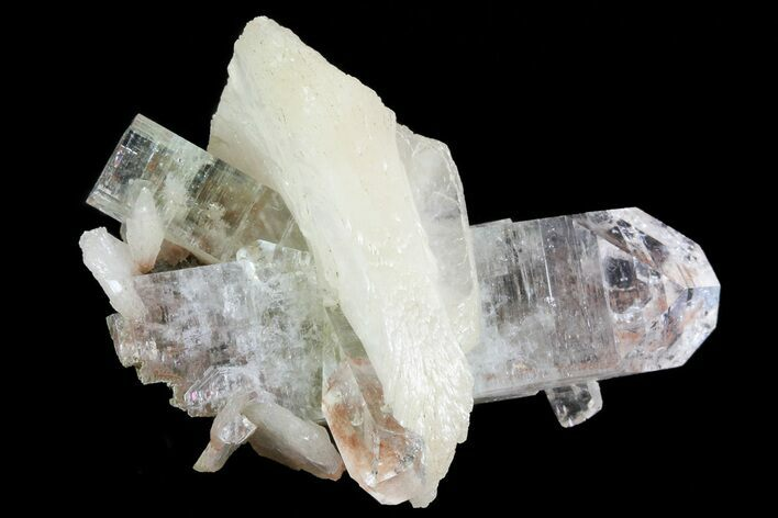 "1.6"" Zoned Apophyllite Crystals With Stilbite - India"