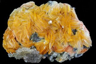"Buy 3.2"" Orange Bladed Barite With Cerussite & Galena - Morocco - #74290"