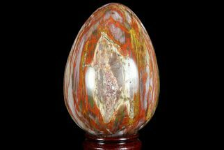"4.8"" Colorful, Polished Petrified Wood ""Egg"" - Triassic For Sale, #74738"