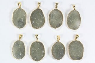 Wholesale Lot: Druzy Green Quartz Oval Pendants - 8 Pieces For Sale, #78440