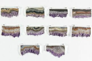 Buy Wholesale Lot: Amethyst Slice Pendants - 10 Pieces - #78457
