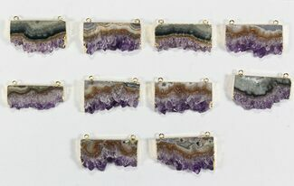 Buy Wholesale Lot: Amethyst Slice Pendants - 10 Pieces - #78460