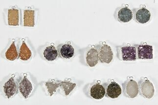 Buy Wholesale Lot: Amethyst Slice Pendants/Earrings - 10 Pairs - #78481