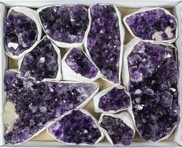 Wholesale Flat: 11 Pieces Uruguay Amethyst Clusters - Grade A For Sale, #79430