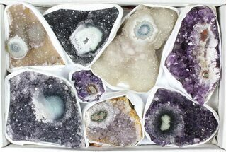 Wholesale Flat: 3 Pounds Uruguay Amethyst - 8 Pieces For Sale, #78260
