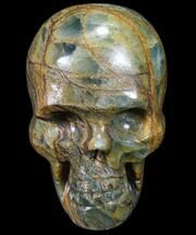 "3"" Carved, Blue Calcite Skull - Argentina For Sale, #80873"