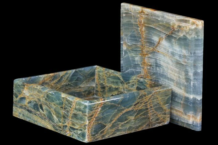 "8"" Polished Blue Calcite Jewelry Box - Argentina"