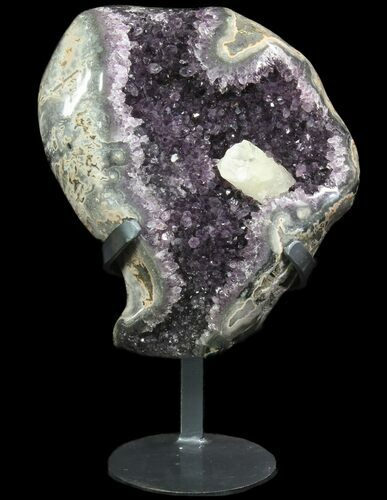"13.5"" Amethyst Cluster With Calcite - Metal Stand (Reduced Price)"