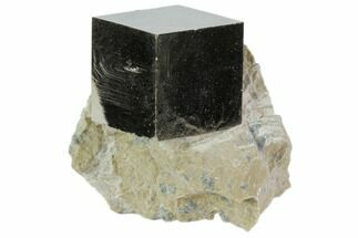 "1"" Natural Pyrite Cube In Rock From Spain For Sale, #82088"