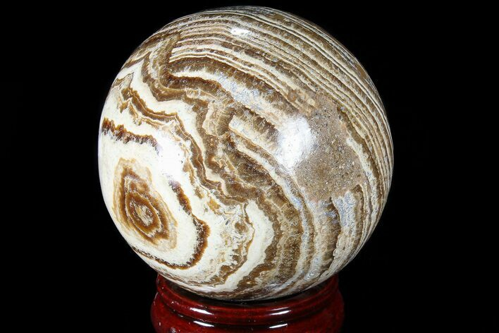 "3.1"" Polished, Banded Aragonite Sphere - Morocco"