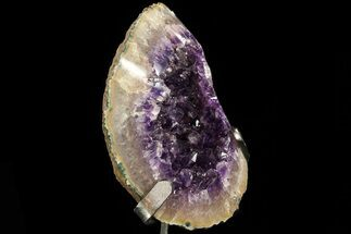 "6.3"" Amethyst Geode With Calcite & Polished Face - Metal Stand For Sale, #83735"