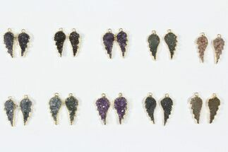 Buy Lot: Amethyst Slice Pendants/Earrings - 10 Pairs - #84094