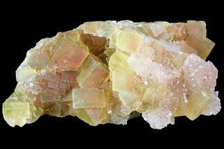 "2.3"" Yellow Cubic Fluorite Cluster With Quartz - Morocco  For Sale, #84296"